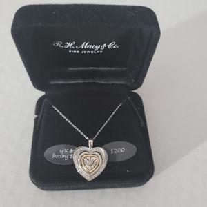 R.H. Macy's Co. Bridge Diamond Heart Necklace NWT